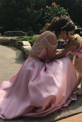 Pink Two Pieces Crystal Evening Dresses 2020 A-line Prom Dress_3