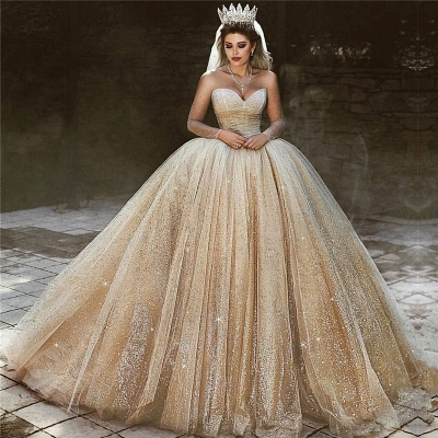 Luxury Champagne Gold Wedding Dresses 2020 | Sequins Princess Ball Gown Royal Wedding Dresses_3