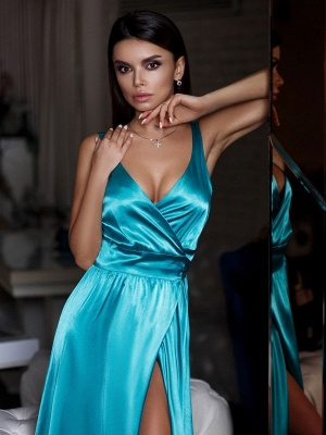 Turquoise Silk Satin Sexy Evening Dresses Cheap | V-neck Split Sleeceless Formal Dresses 2020 BC0244_4