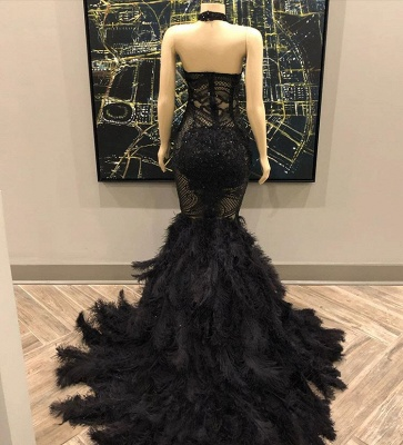 Lace Appliques Halter Feather Prom Dresses | Sleeveless Sexy Mermaid Evening Gowns_3