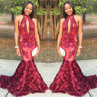 New Arrival Mermaid High Neck Prom Dresses Appliques Evening Gowns with Beadings SK0115_3