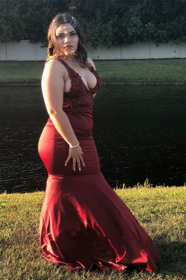 Burgundy Straps Lace V-neck Prom Dress | Mermaid Plus Size Cheap Evening Dresses 2020_2