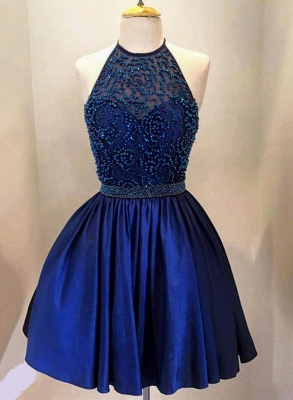 New Arrival Royal Blue Halter Short Homecoming Dress with Beadings A-Line Sleeveless Mini Cocktail Dress TB0205_1