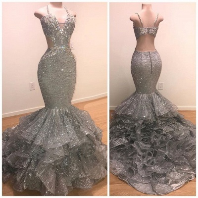 Spaghetti Straps Open Back Silver Grey Prom Dresses | Mermaid Tiered Ruffles Sexy Formal Dresses Cheap_2