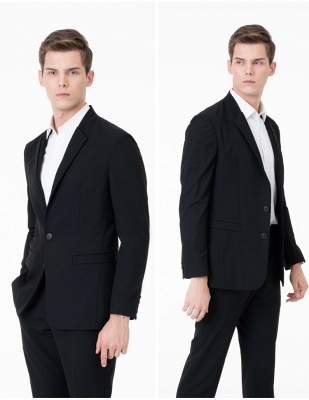 Black Two Button Slim Fit Suit | 2020 Classic Wedding Groom Tuxedos_3