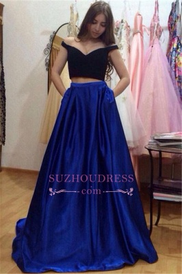 Glamorous Off-the-Shoulder Two-Pieces A-Line Pockets Prom Dresses_2