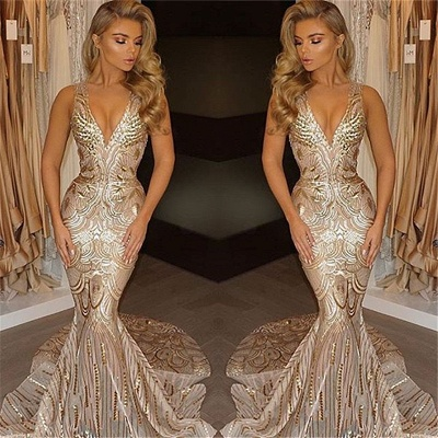 Deep V-neck Champagne Gold Sequins Prom Dresses 2020 Mermaid Sleeveless Sexy Evening Gown FB0007_3