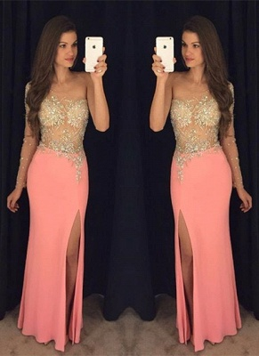 Sexy Sheath One Shoulder Crystal Prom Dresses 2020 Side Slit Evening Gowns BA7760_1