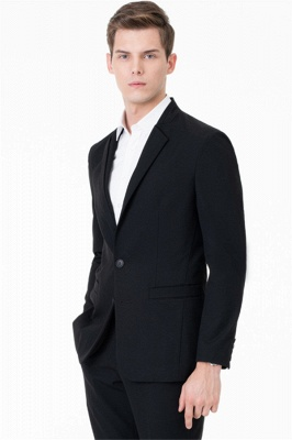 Black Two Button Slim Fit Suit | 2020 Classic Wedding Groom Tuxedos_1