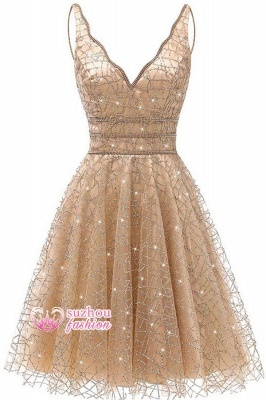 V-neck A-line Short Homecoming Dresses_2