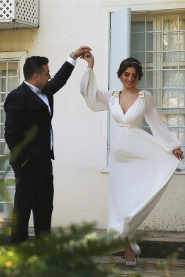 Ivory Chiffon Long Bubble Sleeve Vintage Wedding Dresses Simple Plus Size Wedding Reception Gowns with Belt_5