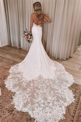 Spaghetti Straps Mermaid Appliques Wedding Dresses | Sexy Backless Bridal Gowns Online