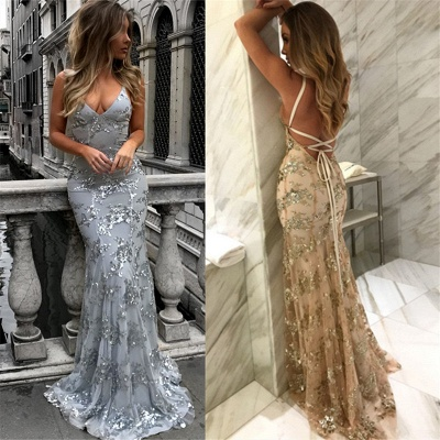 Sexy V-Neck Mermaid Prom Dresses 2020 Sequined Backless Evening Gowns SK0022_5