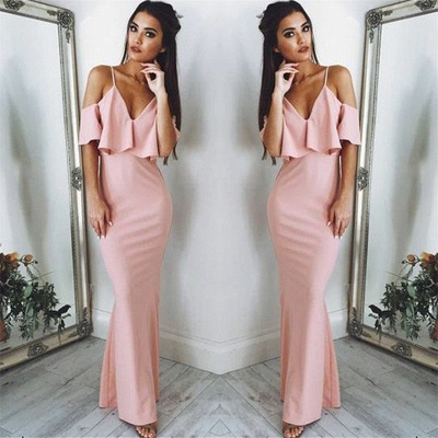 Sexy Pink Evening Dresses Cheap 2020 | Floor Length Spaghetti Straps Formal Dresses_3