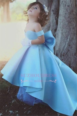 Lovely Simple Blue Bow Off-the-Sholder Flower-Girls Dresses BA7114_3