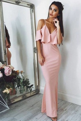 Sexy Pink Evening Dresses Cheap 2020 | Floor Length Spaghetti Straps Formal Dresses_1