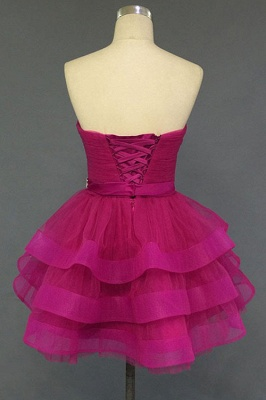Sweetheart Crystal Fuchsia Mini 2020 Cocktail Dresses Tiered Lace-up Short Homecoming Gowns_3