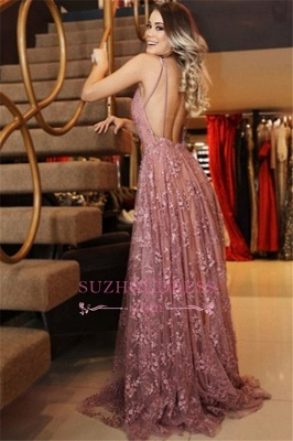 Sexy Pink Spaghetti Straps Evening Dresses | Long Lace Appliques Backless Prom Dresses_2