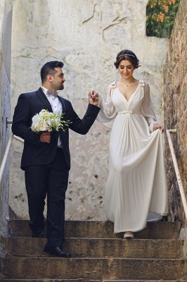 Ivory Chiffon Long Bubble Sleeve Vintage Wedding Dresses Simple Plus Size Wedding Reception Gowns with Belt_1