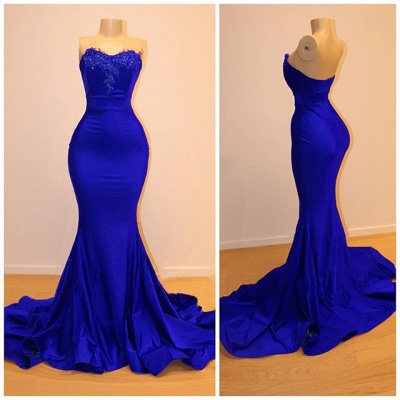 Strapless Open Back Royal Blue Prom Dress Cheap | Mermaid Lace Applqiues Sexy Formal Dresses_2