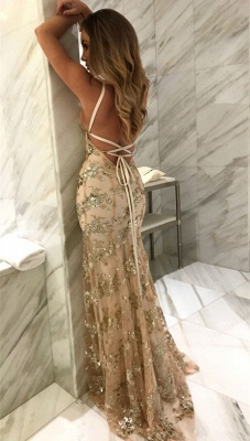 Sexy V-Neck Mermaid Prom Dresses 2020 Sequined Backless Evening Gowns SK0022_4