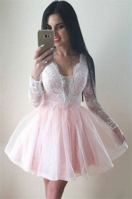 2020 Long Sleeves Pink Homecoming Dresses   Lace A-line Short Homecoming Dress_1