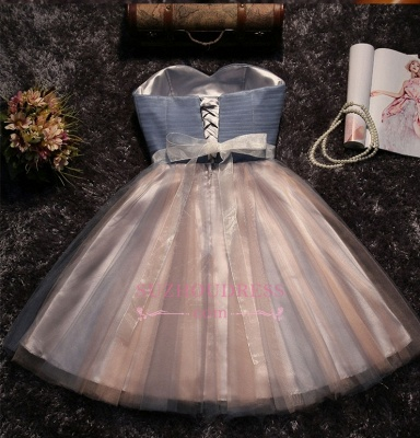 Cute Sweetheart Sleeveless A-Line Homecoming Dresses | 2020 Tulle Lace-Up Bow Mini Prom Dresses_5
