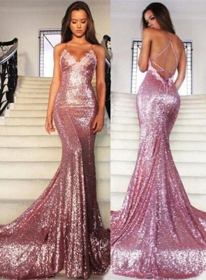 Rose Pink Mermaid Sequins Party Dresses Spaghetti Strap Long Evening Gowns AE0124_2