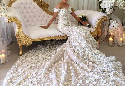 2020 Appliques Mermaid Wedding Dresses | Off-the-Shoulder 3D-Flowers Bridal Gowns_2