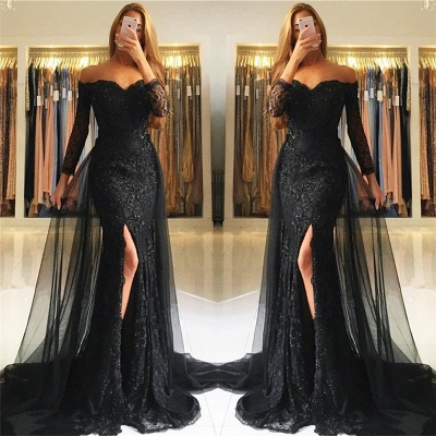 Sweetheart Lace Appliques Evening Gowns 2020 Newest Front Split Long Sleeve Mermaid Prom Dress -BA6240_3