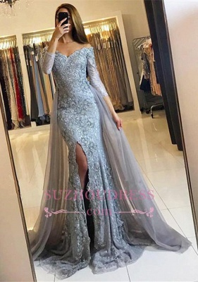 Sweetheart Lace Appliques Evening Gowns 2020 Newest Front Split Long Sleeve Mermaid Prom Dress -BA6240_2