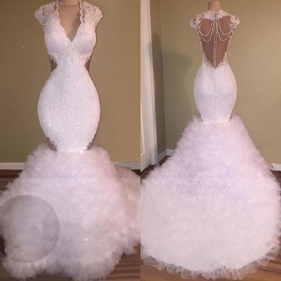 Sheer Tulle Beads Lace Prom Dresses White | Sleeveless Mermaid Tulle Ruffles Formal Evening Gowns Cheap_2