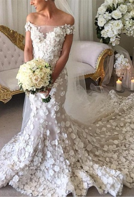2020 Appliques Mermaid Wedding Dresses | Off-the-Shoulder 3D-Flowers Bridal Gowns_1