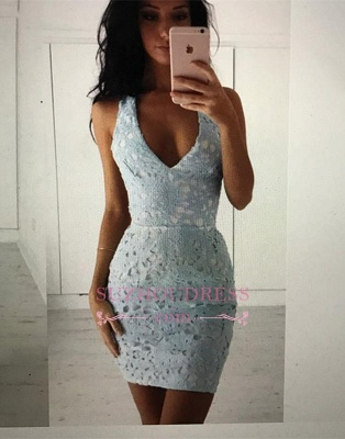 Mini Sleeveless Lace Straps Modest Bodycon Homecoming Dress_4