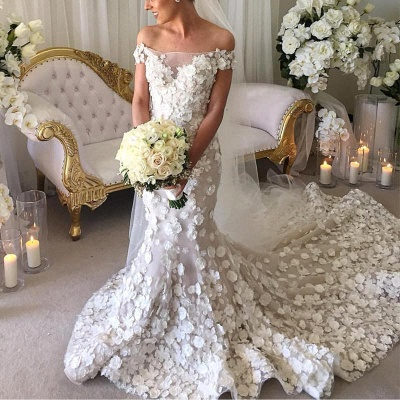 2020 Appliques Mermaid Wedding Dresses | Off-the-Shoulder 3D-Flowers Bridal Gowns_3