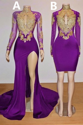 Gold Beads Appliques Long Sleeve Purple Prom Dresses on Mannequins Cheap 2020_1