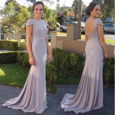 Beading Cap Sleeve 2020 Cheap Bridesmaid Dresses New Arrival Open Back Evening Gowns_3