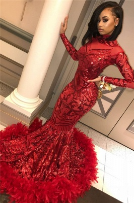 Long Sleeve Mermaid Red Prom Dresses Cheap 2020 | Sequins Appliques Feather Evening Dress BC1327_1