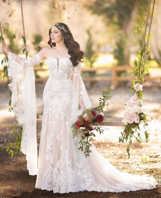 Strapless Lace Bell Sleeve Wedding Dresses | Mermaid Sexy Bridal Gowns Online_3