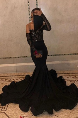 Sequins Black Prom Dresses with Sleeve Cheap 2020 | Mermaid Sheer Tulle Ruffles Formal Evening Gowns_2