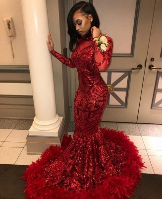 Long Sleeve Mermaid Red Prom Dresses Cheap 2020 | Sequins Appliques Feather Evening Dress BC1327_3