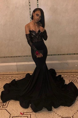 Sequins Black Prom Dresses with Sleeve Cheap 2020 | Mermaid Sheer Tulle Ruffles Formal Evening Gowns_1