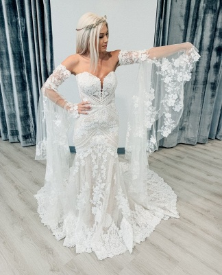 Strapless Lace Bell Sleeve Wedding Dresses | Mermaid Sexy Bridal Gowns Online_2