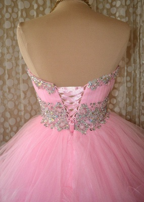Cute Pink Crystal Organza Mini Homecoming Dresses Lace-Up Sweetheart Fitted Short Dress with Beadings_2