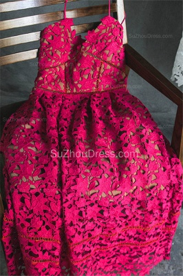 Spaghetti Strap Lace Tea Length Homecoming Dresses Cute Summer Beach Prom Dresses for Juniors_4