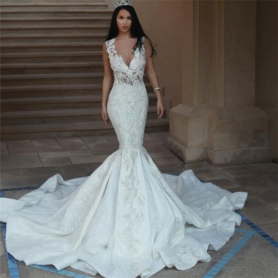 Elegant V-Neck Sleeveless Wedding Dresses | Mermaid Lace Bridal Gowns with Buttons BA9550_4