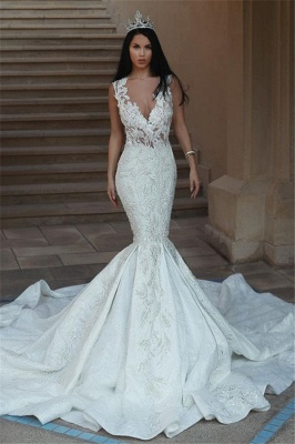 Elegant V-Neck Sleeveless Wedding Dresses | Mermaid Lace Bridal Gowns with Buttons BA9550_1