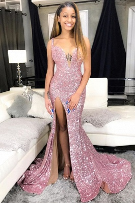 Sequins Pink Prom Dresses Cheap 2020 | Mermaid Sexy Slit Formal Evening Gowns Long_1