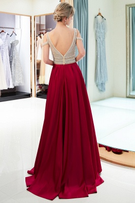 2020 V-Neck Sleeveless Red Evening Dresses   Sexy Crystal Open Back Prom Dress_3