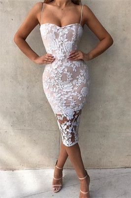 Spaghetti Straps Sexy Bodycon Lace Cocktail Dress Cheap | Sleeveless Tight Party Dress 2020_1